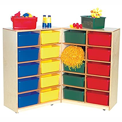 Folding Vertical Storage Unit 20 Compartment Cubby Bin Color: Assorted Tray