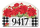 Yard DeSigns Studio M Geranium Blooms Spring Summer Floral Decorative Address Marker Yard Sign Magnet, Made in USA, Superior Weather Durability, 14 x 10 Inches