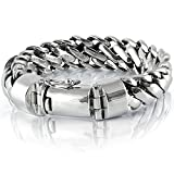 925 Sterling Silver Heavy Round Snake Men Bracelet - Made in Thailand - 9.5