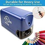 Heavy Duty Electric Pencil Sharpener, AFMAT Colored Pencil Sharpener for 6.5-8mm No.2 Pencils, UL Listed Heavy Duty Pencil Sharpener w/Stronger Helical Blade, Colored Pencil Sharpener-Blue