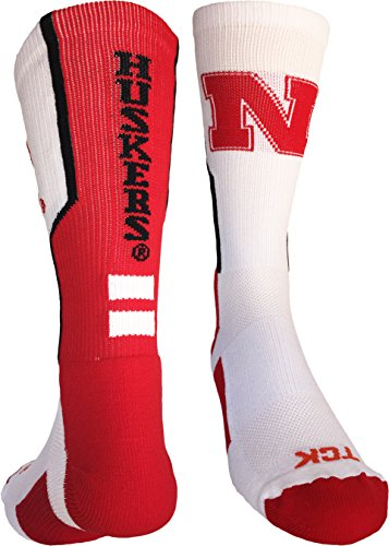 Nebraska Cornhuskers Perimeter Crew Socks (White/Scarlet/Black, Medium)