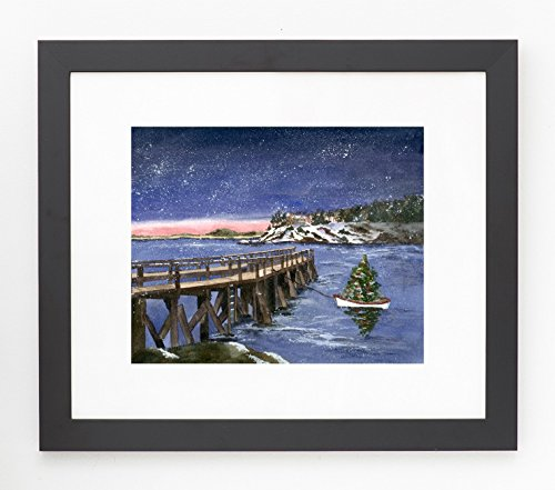 Holly Young Art Framed and Matted Winter Magnolia Pier Giclee Print
