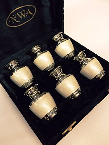 - Cremation Urn, keepsake urns, solid brass with pearl white and nickel finish- set of 6