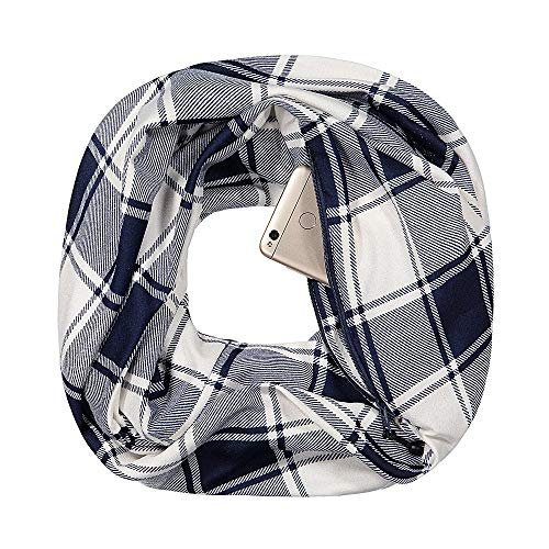 Womens Fashion Infinity Scarf - Pop Fashion Checkmate Pocket Scarf - Travel Infinity Scarf with Zipper Pockets, Navy Plaid Scarves