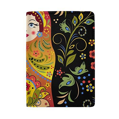 Passport Holder Cover Russian Doll Matryoshka- Leather ID Card Case Travel Wallet Document Organizer, WangH 6.5