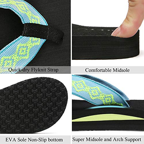 QLEYO Womens Flip Flops, Comfort Arch Support Slippers, Wide Width Thong Sandals for Summer Beach/Holiday/Poolside/Bathhouse 19RZTQL03-W32-36/5