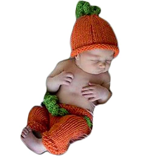 Image Unavailable. Image not available for. Color  Baby Photography Props  Pumpkin Hat Pants Newborn Boy Girl Halloween Photo Shoot Outfits Infant  Crochet ... ed64d5ec869d