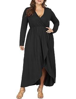 400e55c632 Allegrace Women Plus Size Wrap V Neck Long Sleeve Ruffle Maxi Dress Flowy Long  Dresses
