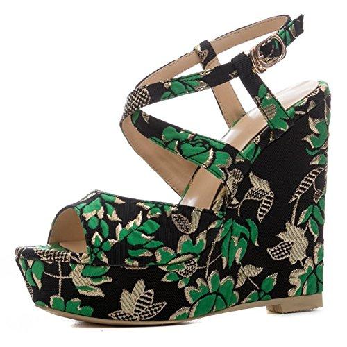 Mujer Porciones Alto Tacón Sandalias Plataforma Tobillo Cruzar Correa Zapatos Mirar furtivamente Dedo del pie rojo Verano Fiesta Vestir Club nocturno , Green , EUR 36/ UK 3.5-4