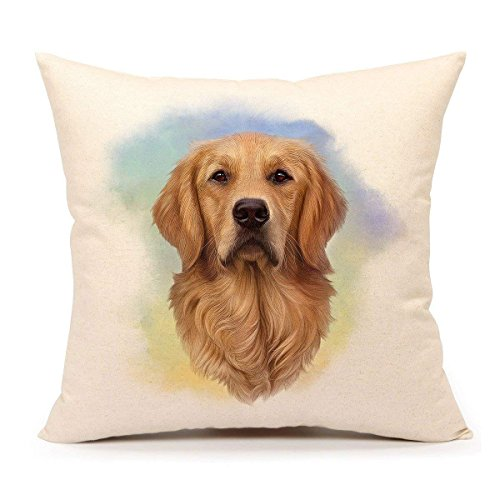SPXUBZ Dog Lover Gift Golden Retriever Pillow Cover Decorative Home Decor Nice Gift Square Indoor Pillowcase Size: 16x16 Inch(Two Sides)