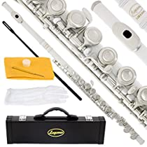 120-WH - WHITE/NICKEL Keys Closed C Flute Lazarro+Pro Case,Care Kit - 22 COLORS Available ! CLICK on LISTING to SEE All Colors