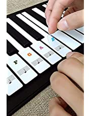 Piano Key Stickers, Music Piano Keyboard Stickers Black& White Keys Note Sticker for 37/49/54/61/88 keys,Transparent Removable Stickers for Kids Beginner