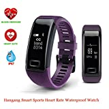 Hangang Fitness Tracker C9 Smart Watch Sports Bracelet Activity Tracker Bluetooth Band Smart Wristband Heart RateBlood Presure Bracelet Detection Pedometer Tracker for Android and IOS(purple)