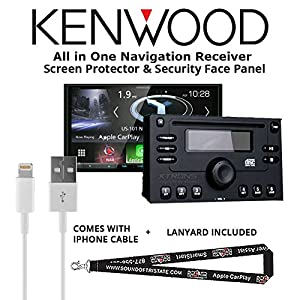 "Kenwood Excelon DNX994S In Dash Navigation System 6.95"" Touchscreen Display, Built in Bluetooth with a Screen Protector, Security Face Panel, Lightening to USB Adapter and a FREE SOTS Lanyard"