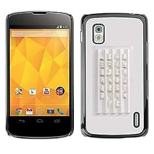 For LG Google NEXUS 4 / Mako / E960 Case , Calligraphy Design White Abc - Diseño Patrón Teléfono Caso Cubierta Case Bumper Duro Protección Case Cover Funda