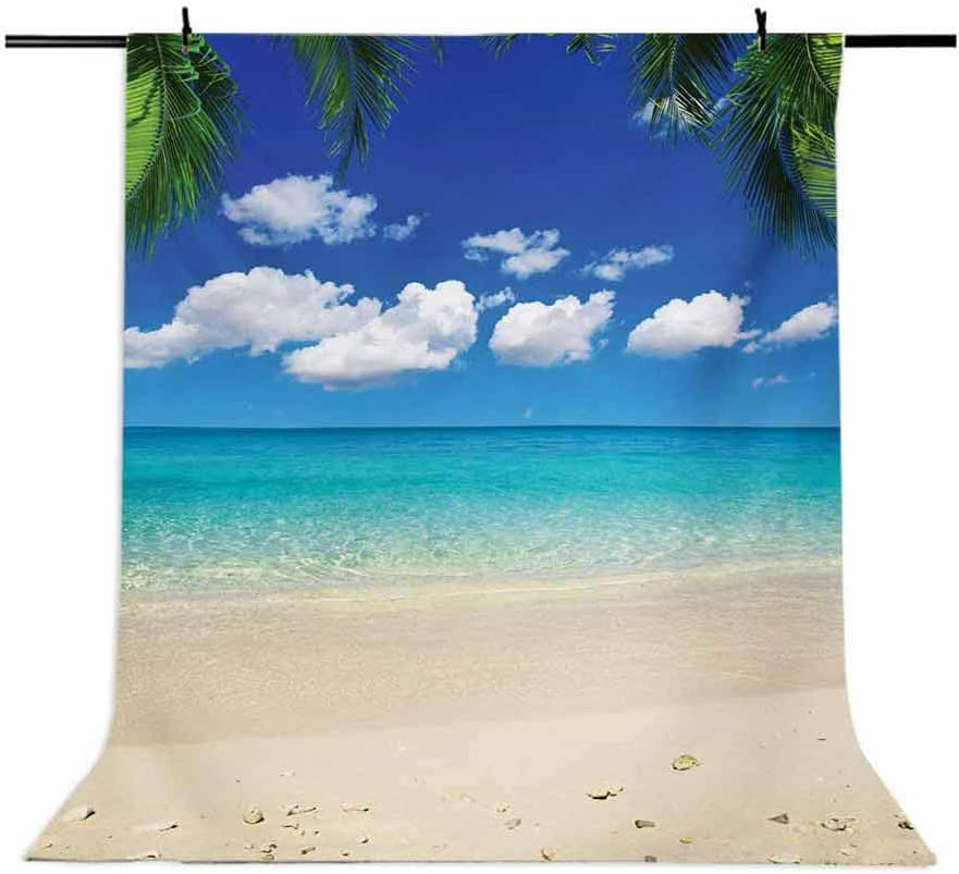 Travel 6.5x10 FT Photo Backdrops,Sunny Island View Vacation Clear Sky Scenic Summer Seashore Picture Background for Kid Baby Boy Girl Artistic Portrait Photo Shoot Studio Props Video Drape Vinyl