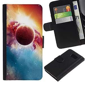 Ihec-Tech / Flip PU Cuero Cover Case para Samsung Galaxy S6 SM-G920 - Beautiful Planet & Sun