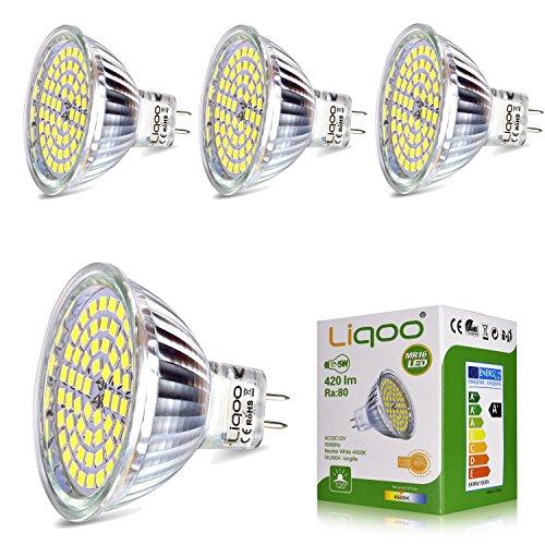 Liqoo® 4x MR16 GU 5.3 Ampoule LED Lampe Bulb Spot Light 5W 420 Lumen 4500K Blanc du Jour AC / DC 12V 80Ra Equivalente à une Ampoule Incandescente de 35W 60x 2835 SMDs φ 50 x 48 mm