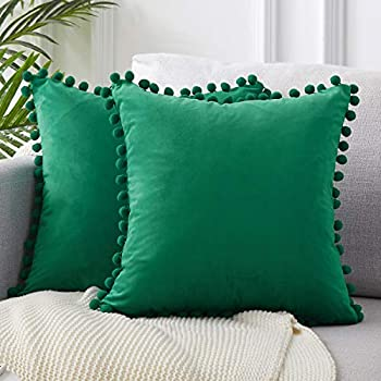 Top Finel Decorative Throw Pillow Covers with Pom Poms Soft Particles Velvet Solid Cushion Covers 20 X 20 for Couch Bedroom Car, Pack of 2, Dark Green