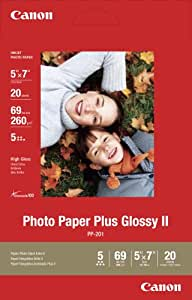 Genuine Canon PP-201, 5 x 7-Inch, Photo Paper Plus Glossy, 20 Sheets/Package