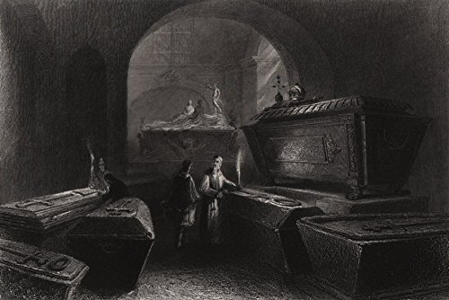 Imperial Family's funeral vault, Capuchin church, Vienna. Kapuzinerkirche - 1840 - old print - antique print - vintage print - Austria art prints