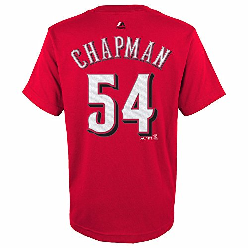 Aroldis Chapman Cincinnati Reds MLB Majestic Youth's Red Player Name & Number Jersey T-Shirt (Mlb Shirt)