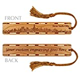 new york bookmark - Personalized New York City Skyline Engraved Wooden Bookmark with Tassel - Search B01776RDL8 to see non personalized version.