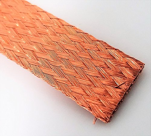 (Flat Bare Copper Braid, Bright, 1/2