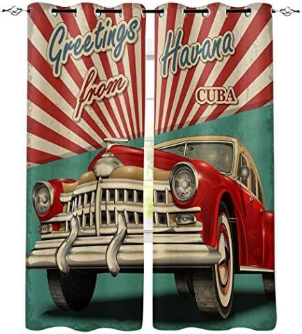 遮光カーテン 車 レトロ風格 旅行 ドレープカーテン おしゃれ 断熱 遮熱 防音 昼夜目隠し 遮像 デコレーション 洗濯可 取り付け簡単 135cmx245cmx2