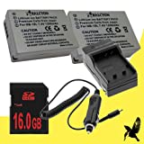 Two Halcyon 1200 mAH Lithium Ion Replacement Battery and Charger Kit + 16GB SDHC Class 10 Memory Card for Canon PowerShot SX50 HS 12.1 MP Digital Camera and Canon NB-10L