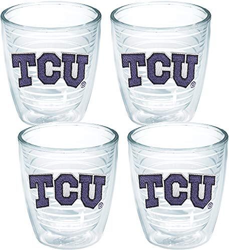 Tervis 1007945 TCU Horned Frogs Logo Tumbler with Emblem 4 Pack 12oz, Clear