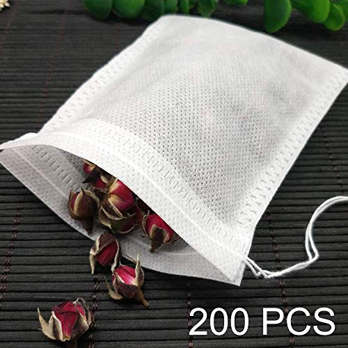 Price comparison product image Tea Filter Bags 200-Pack 2.75 x 3.54 inch Disposable Tea Infuser Natural Non-woven Fabric Material Drawstring Tea Bag Empty for Loose Tea