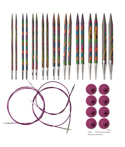 Knit Picks Options Interchangeable Rainbow Wood Circular Knitting Needle Set by KnitPicks