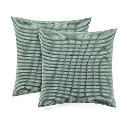 Classic Slipcovers Pillow - Set of 2 Jacquard Decorative Throw Pillow Covers Classic Country Cushion Covers for Sofa Couch Bench Outdoor, 18 x 18 inches(45x45cm), Home Decor Design Set Cushion Case, Green