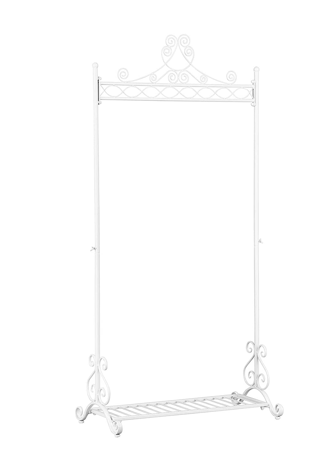 Metal Chic Clothing Garment Rack Stand, Vintage Design Wardrobe Clothes Hanging Racks with Bottom Shelf (Black) 010 062