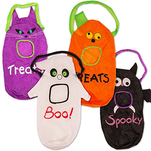 Halloween Trick or Treat Bags Kids Toddlers Children -- Set of 4 Trick or Treating Bags (Pumpkin, Bat, Ghost, Cat)