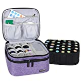 LUXJA Essential Oil Carrying Case - Holds 30 Bottles (5ml-30ml, Also Fits for Roller Bottles), Double-Layer Organizer for Essential Oil and Accessories, Purple