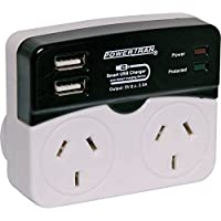 DUAL MAINS ADAPTER WITH 2X USB 3.5A SURGE DOUBLE GPO