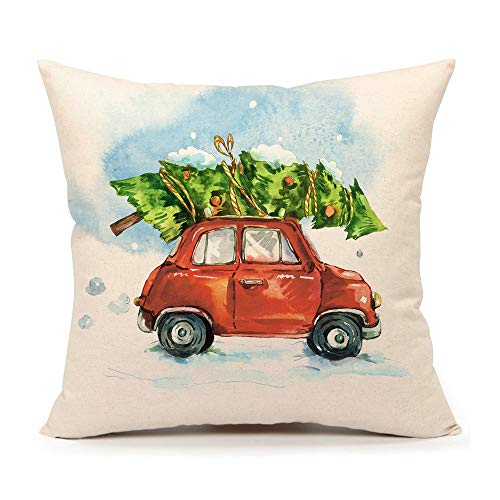 4TH Emotion Christmas Tree and Red Truck Throw Pillow Cover Home Decorative Cushion Case 18 x 18 Inch Cotton Linen for Sofa(Cartoony Vintage)