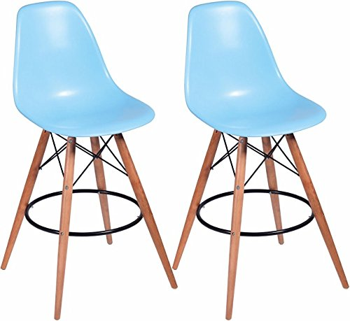 Mod Made MM-PC-016WH-Blue Paris Tower Barstool 2-Pack - (2 Chairs) ()