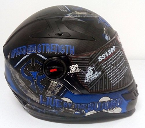 Speed and Strength SS1300 Live by the Sword Blue Full Face Helmet New Size XL