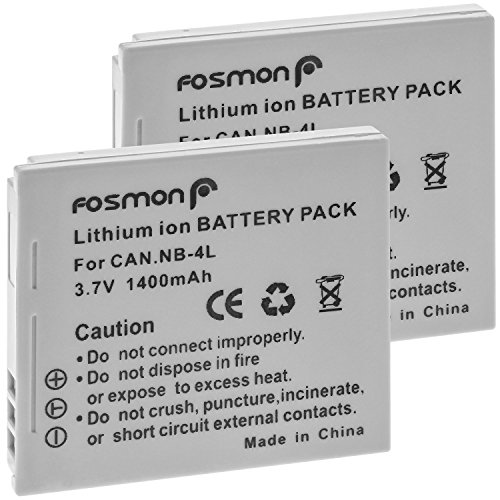Nb 4l Battery Pack (Fosmon (2-Pack) NB-4L Battery 1400mAh, Extended Life Replacement Battery Pack for Canon PowerShot SD40, SD30, SD200, SD300, SD400, SD430, SD450, SD600, SD630, SD750, SD780 IS, SD940 IS, SD960 IS, SD10)