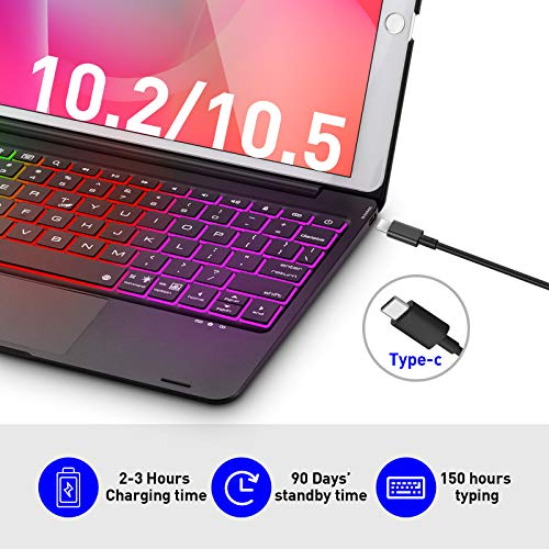 Touchpad Keyboard Case for 10.2 inch iPad 8th Gen 2020/ 7th Gen 2019, iPad Air 3, Pro 10.5 - Smart Wireless Trackpad Keyboard with 135° Folio Slim Cover - Black