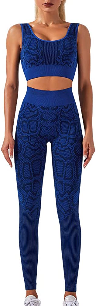 Womens Workout Outfit 2 Pieces Seamless Yoga Leggings with Sports Bra Gym Clothes Set Sportswear Suits