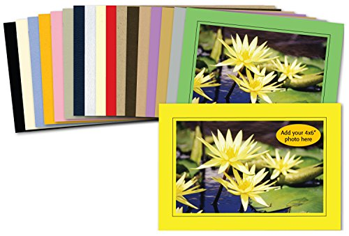 - Photographer's Edge, Photo Insert Card Sample Pack, 18 Colored Cards, for 4x6 Photos