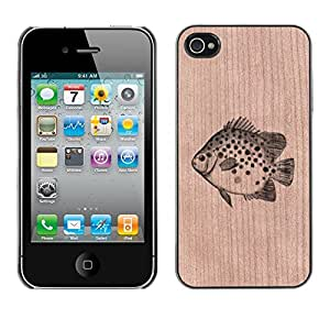 - / Fish Fishing Catch Nature - - Funda Delgada Cubierta Case Cover de Madera / FOR Apple iPhone 4 4S 4G / Jordan Colourful Shop/