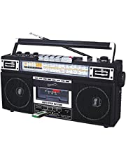 Supersonic Retro 4 Band Radio & Cassette Player with Bluetooth, Boomboxes - Black (SC-3201BTBLACK)