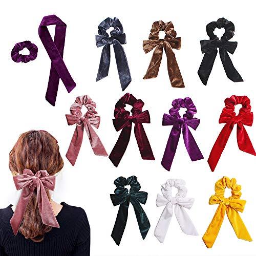 10Pcs Hair Scrunchies Ribbon Bowknot Velvet Elastics Hair Bands Scrunchy Hair Rope Ties Hair Bow Ponytail Holder Accessories for Women Girls