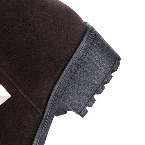AgooLar Women's Kitten-Heels PU Solid Pull-On Round-Toe Boots Brown ymSsKnrG