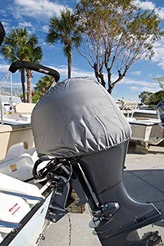 Outboard Motor Cover, 600D Heavy Duty Waterproof Trailerable Boat Engine Cover, Universal for Mercury, Yamaha, Suzuki, Evinrude. Gray (25HP-50hp)